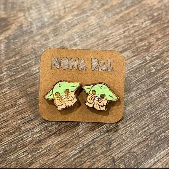 Baby Alien Tea Wooden Earrings