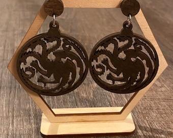 Dragon Earrings - Wooden Earrings - Fandom Earrings - Geeky Earrings - Laser Cut Earrings