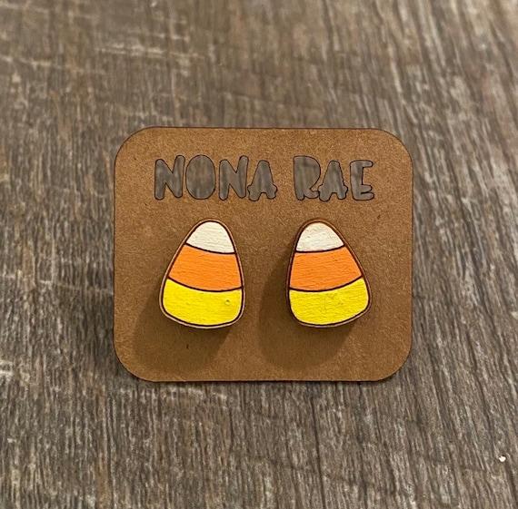 Candy corn Earrings - Halloween Earrings - Wooden Earrings - Fandom Earrings - Geeky Earrings - Laser Cut Earrings