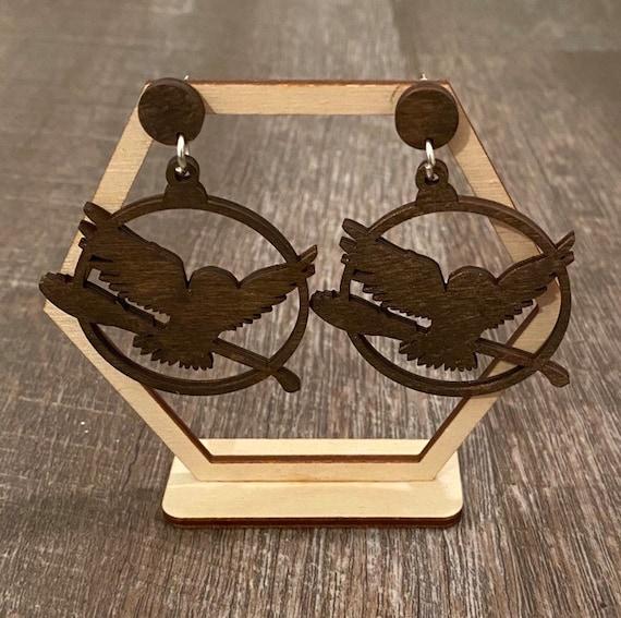 Wizard Earrings - Owl Earrings - Wooden Earrings - Fandom Earrings - Geeky Earrings - Laser Cut Earrings