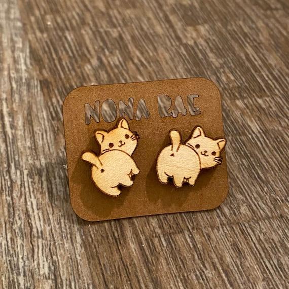 Cat Butt Wooden Earrings