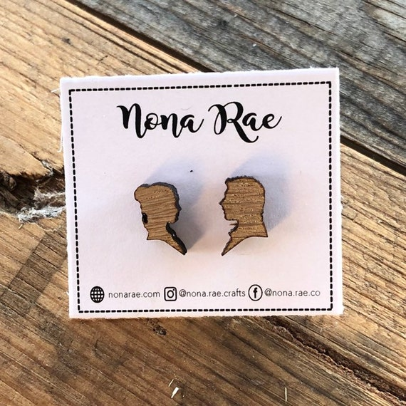 Wooden Space Couple Earrings