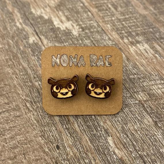 Animal crossing- Blathers - wooden earrings