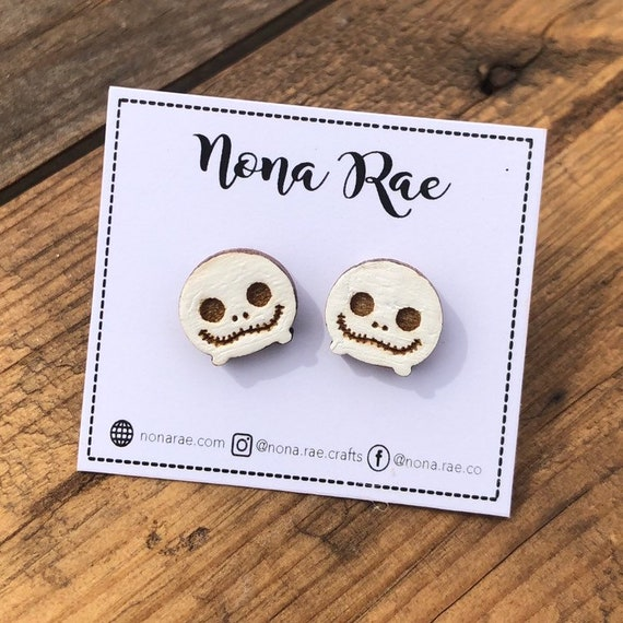 Skeleton Character Wooden Earrings- laser Cut - hand painted