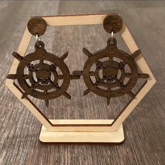Pirates Earrings - Wooden Earrings - Fandom Earrings - Geeky Earrings - Laser Cut Earrings