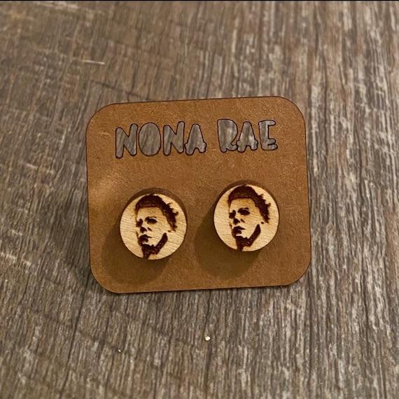 Michael Myers Earrings - Wooden Earrings - Fandom Earrings - Geeky Earrings - Laser Cut Earrings