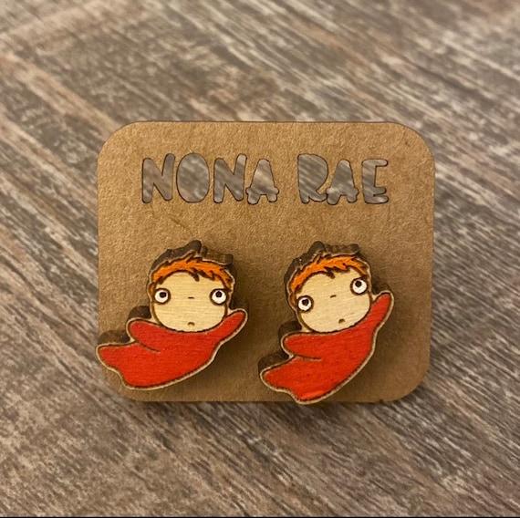 Anime Earrings - laser cut earrings - wooden earrings- geeky earrings - fish earrings - anime fish earrings