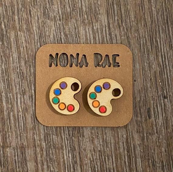 Art pallet Earrings - Wooden Earrings - Fandom Earrings - Geeky Earrings - Laser Cut Earrings