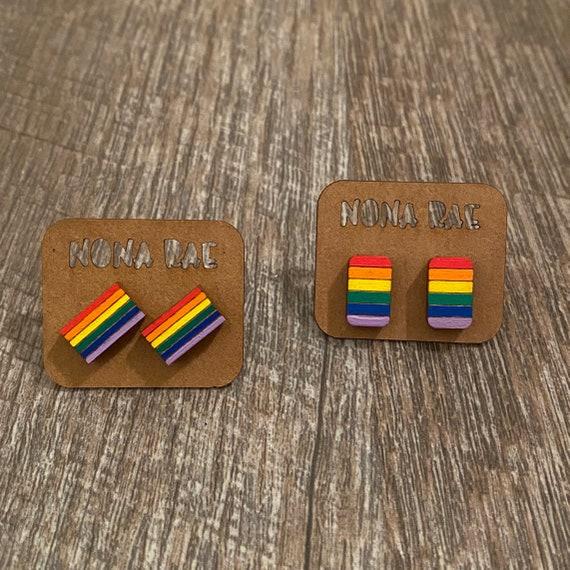 Rainbow Wooden Earrings -Pride Earrings - LGBTQ Earrings