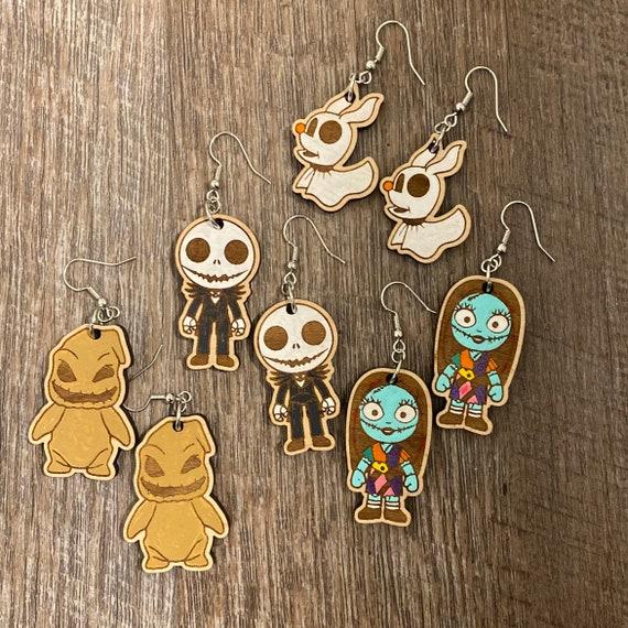 Christmas Earrings - Halloween Earrings - Laser cut wooden earrings