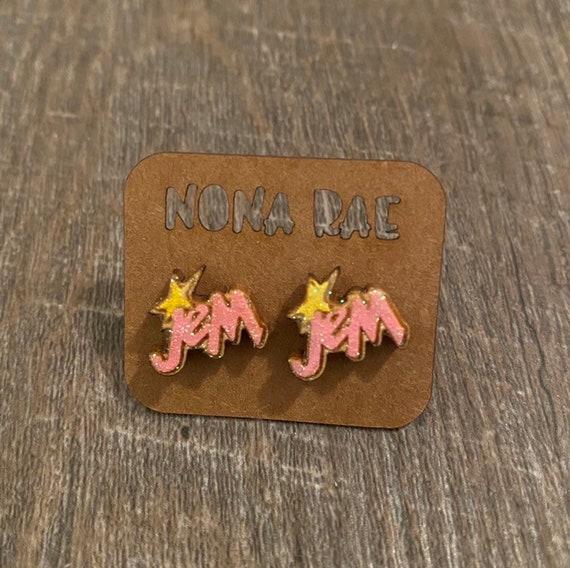 Jem and the holograms Earrings - Wooden Earrings - Fandom Earrings - Geeky Earrings - Laser Cut Earrings