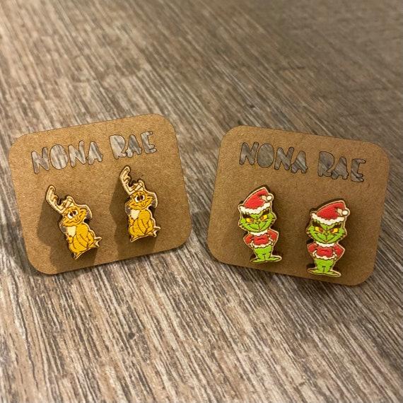 Christmas Earrings - Character Wooden Earrings- laser Cut - hand painted