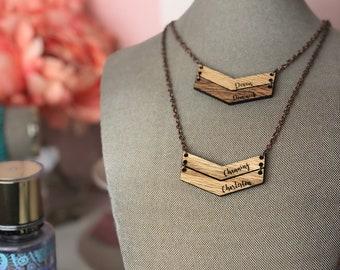 Custom Chevron Wooden Name Necklace