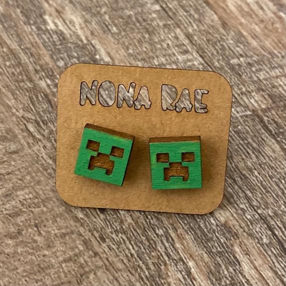 Video Game Earrings- laser cut earrings - wooden earrings- geeky earrings - cat earrings - anime cat earrings