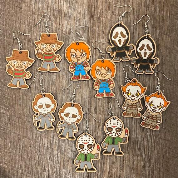 Horror Earrings - Halloween Earrings - Ghostface - Michael Myers - Freddy Krueger- Pennywise - Chucky - Jason Vorhees