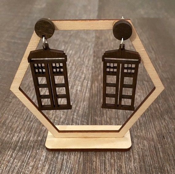 Space Earrings - Telephone Booth Earrings - Wooden Earrings - Fandom Earrings - Geeky Earrings - Laser Cut Earrings
