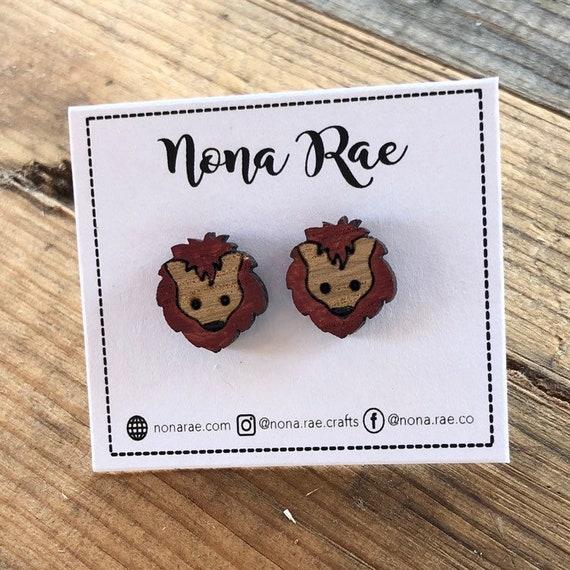Wooden Lion Earrings - laser cut - hand painted