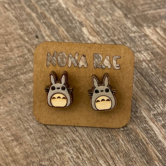 Anime Earrings - laser cut earrings - wooden earrings- geeky earrings - cat earrings - anime cat earrings