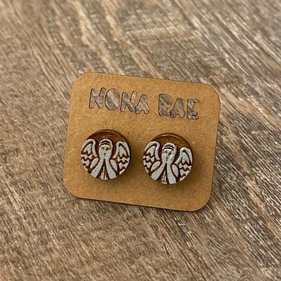 Weeping Angel Wooden Earrings
