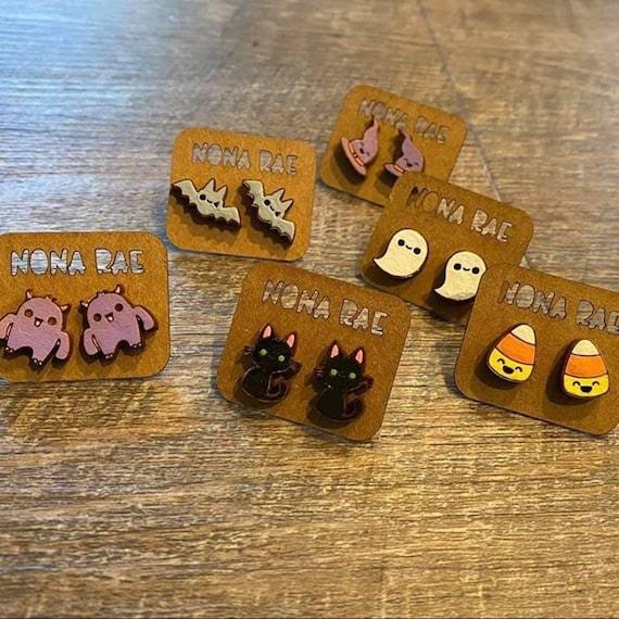 Kawaii Halloween Earrings - Wooden Earrings - Fandom Earrings - Geeky Earrings - Laser Cut Earrings
