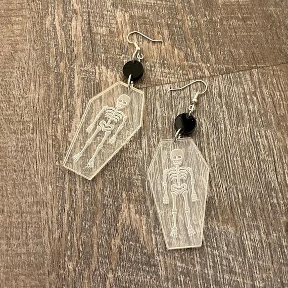 Skeleton Coffin Earrings - Acrylic Earrings - Fandom Earrings - Geeky Earrings - Laser Cut Earrings