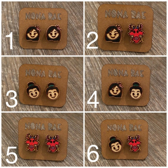 Character Earrings - Wooden Earrings - Fandom Earrings - Geeky Earrings - Laser Cut Earrings