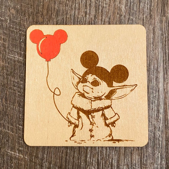Baby Alien mouse Balloon Wooden Magnet