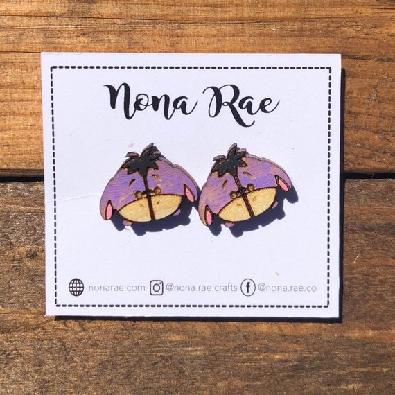 Character Wooden Earrings- laser Cut - hand painted
