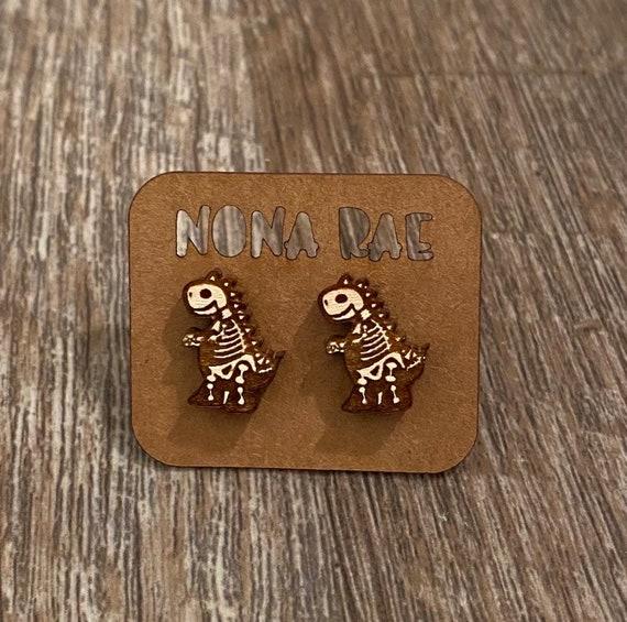 T rex Earrings - Dinosaur Earrings - Wooden Earrings - Fandom Earrings - Geeky Earrings - Laser Cut Earrings