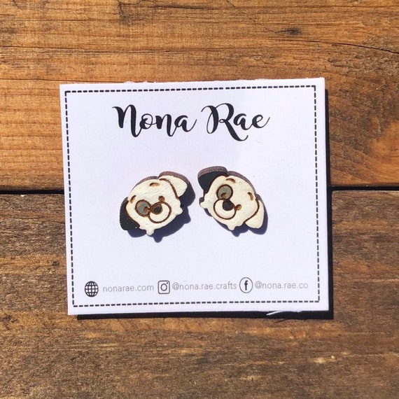Dog Character Wooden Earrings- laser Cut - hand painted