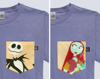 a5fc5858 Disney Inspired Unisex Jack and Sally The Nightmare Before Christmas Couple  Pocket T-shirt | Magical Day Apparel