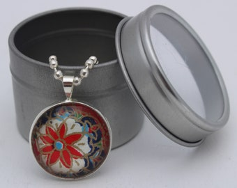 Pendant necklace, silver-plated, glass, resin & Japanese Chiyogami paper. Petite and sweet! Features red and blue floral design- 12mm.