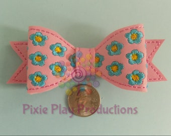 Floral Embroidered Hair Bow