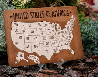 United States Map Puzzles.Usa Map Puzzle Etsy