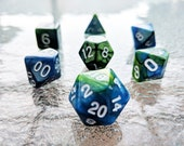 Planet Earth Polyhedral Dice Set - Blue Green Marble