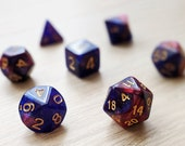 Rose Galaxy Polyhedral Dice Set - Indigo Purple Blue and Pink Marble with Blue Green Reflect Glitter