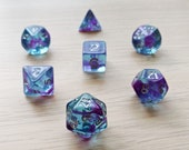 Hypnotic Waters Polyhedral Dice Set - Transparent Purple and Blue Swirl