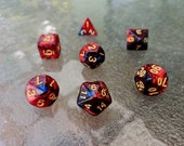 Auguste Nebula Polyhedral Dice Set - Red, Blue and Black Marble