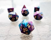 Unforseen Circumstances Polyhedral Dice Set - Blue Purple Marble