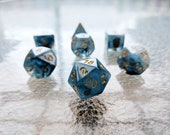 Whims of the Sea Polyhedral Dice Set - Transparent Smokey Blue Swirl
