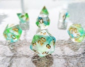 Monet Polyhedral Dice Set - Clear with Green and Blue Swirls