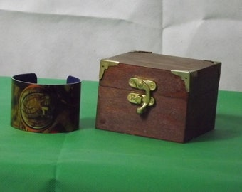 A Steampunk Velvet Lined Cuff Bracelet with Lined Wooden Box