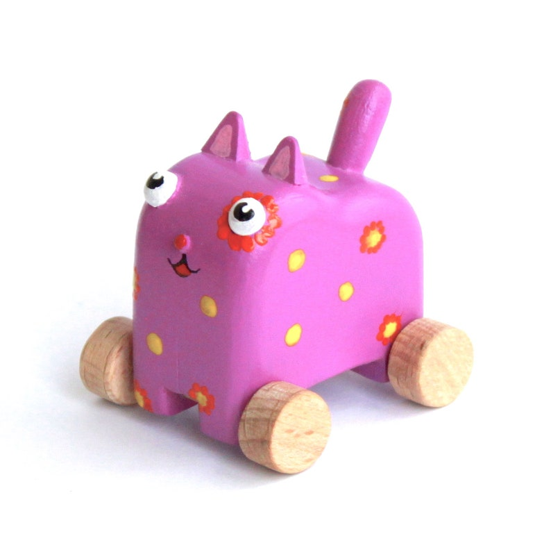 Wooden Toy Kitty Cat Pull Animal