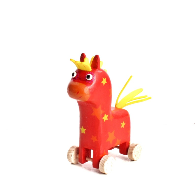 Wooden Horse On Wheels Pull Toy Animal Eco Friendly
