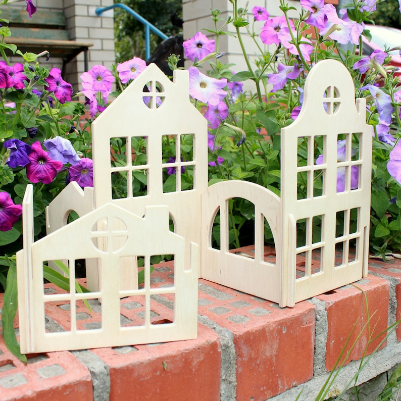 Wooden House Block Set Building block houses Natural Waldorf toy Wood toy plywood house Montessori toy Educational toys Constructor Gift boy