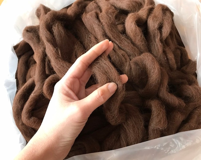 Featured listing image: 100% Alpaca Roving from Colorado farm, reddish-brown suri and huacaya blend, perfect for spinning and weaving