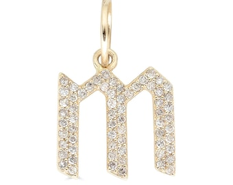 14k Gothic Letter Necklace, Gold Initial Necklace, Diamond Letter Necklace, Gothic Initial Charm, Personalized Necklace - (6-C6)