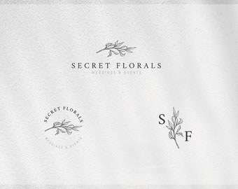 Floral Branch Logo Floral Twig Logo Premade Hand drawn Logo Design Blog Branding Kit Feminine Fashion Logo Wedding Event Planner