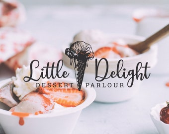 Food Photography, Premade Hand drawn Logo Design, Blog Branding Kit, Ice Cream Parlour, Dessert Shop, Whimsical Font, Minimal Design