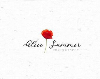 Watercolor Poppy Floral Logo Feminine Logo Watermark Logo Premade Hand drawn Logo Design Fashion Blog Branding Kit Wedding Photography